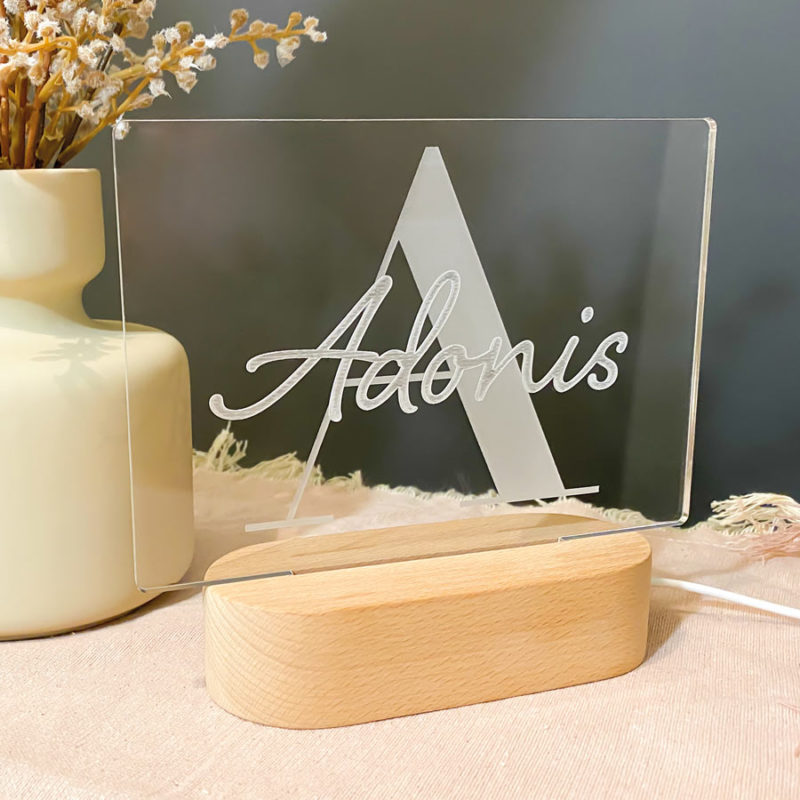 personalised letter and name LED night light