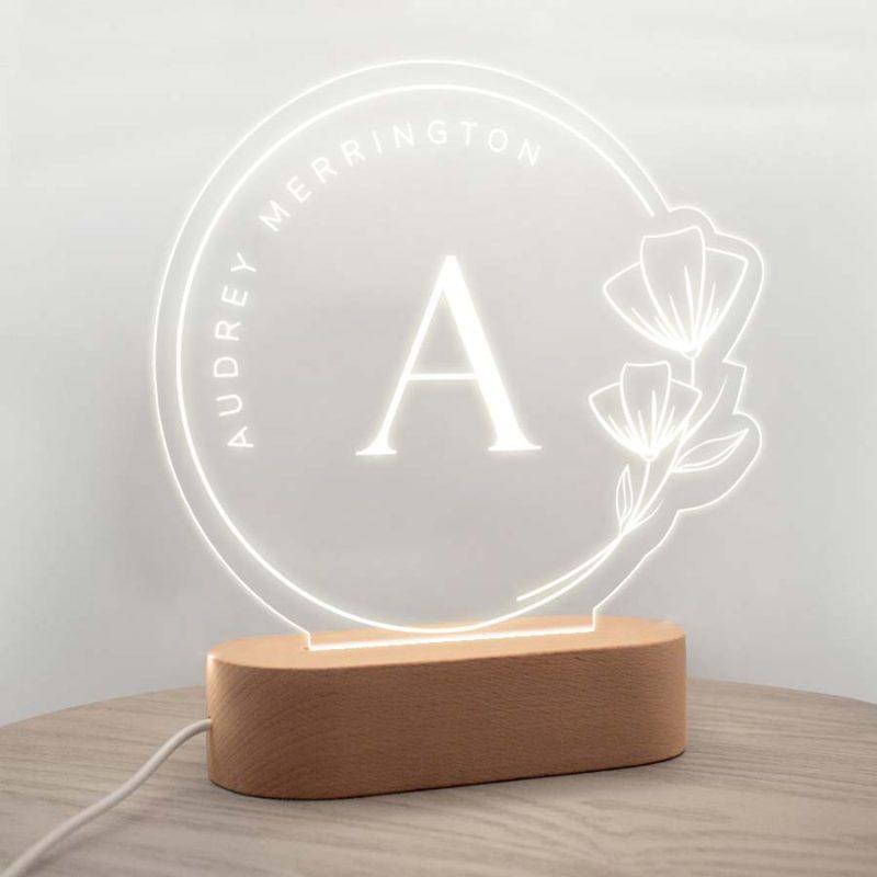 personalised night light wiht initial