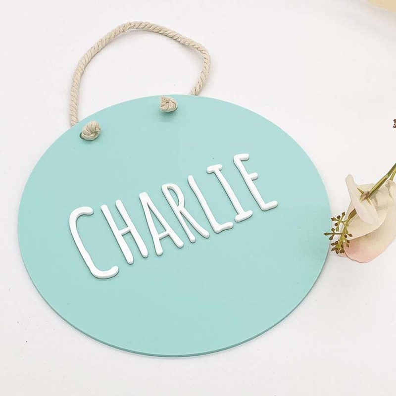 round layered acrylic name plaque