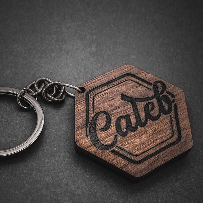timber custom key ring