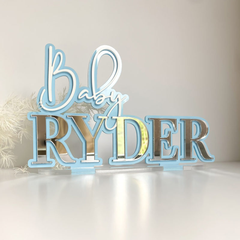 3D layered name plaque stand